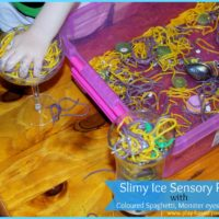 Sensory Spaghetti Play – Monster eyes ice and Slime
