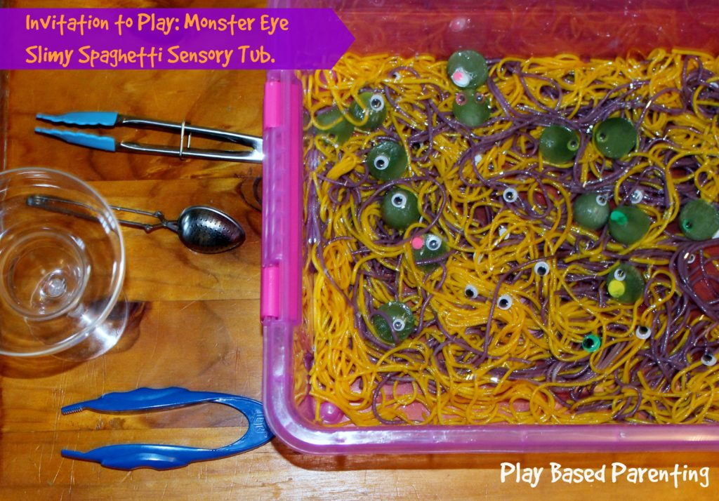 sensory spaghetti play tub