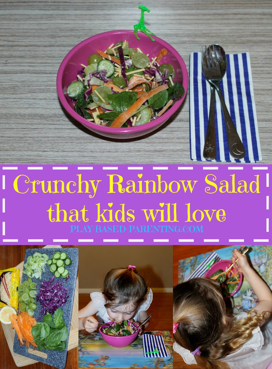 Crunchy Salad for Kids - A healthy Rainbow salad children will love. Play Based Parenting.