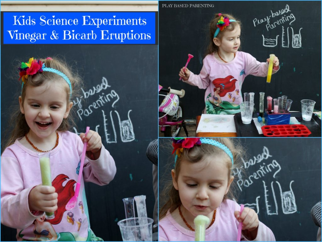 Kids Science Experiment vinegar and Bicarbonate eruptions