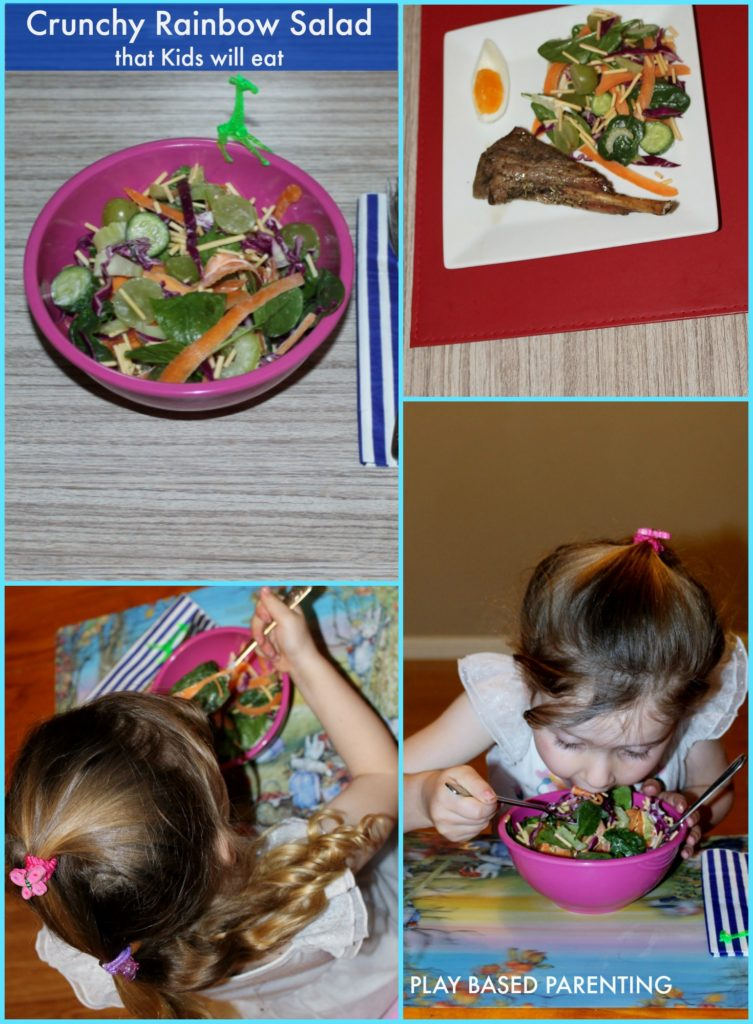 Crunchy salad for kids. A healthy rainbow salad kids will love to eat.