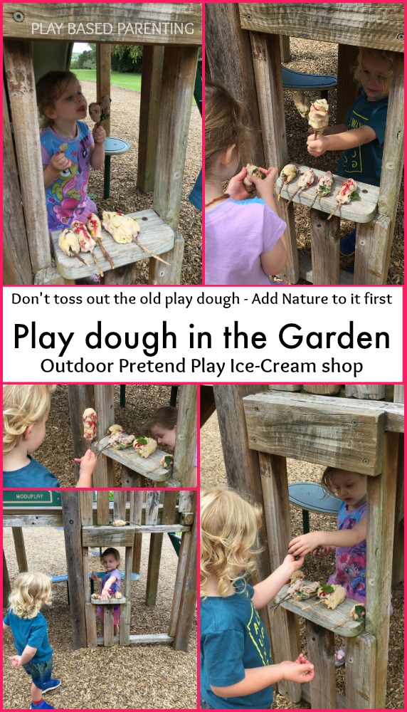 Play dough outdoors in the garden. flower icecream shop