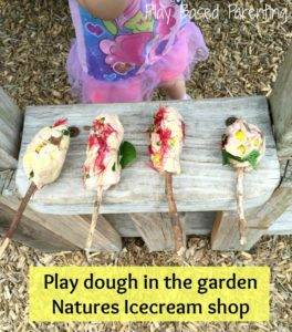 play dough outdoors - pretend icecream play