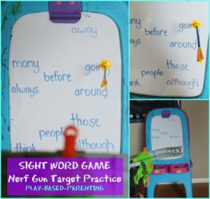 sigh words game nerf-gun-target-practice. Play Based Parenting.
