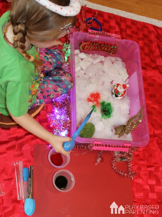 christmas sensory bin how to make real snow