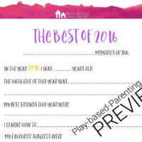 New Years Eve idea for kids – Best of 2016 Printable
