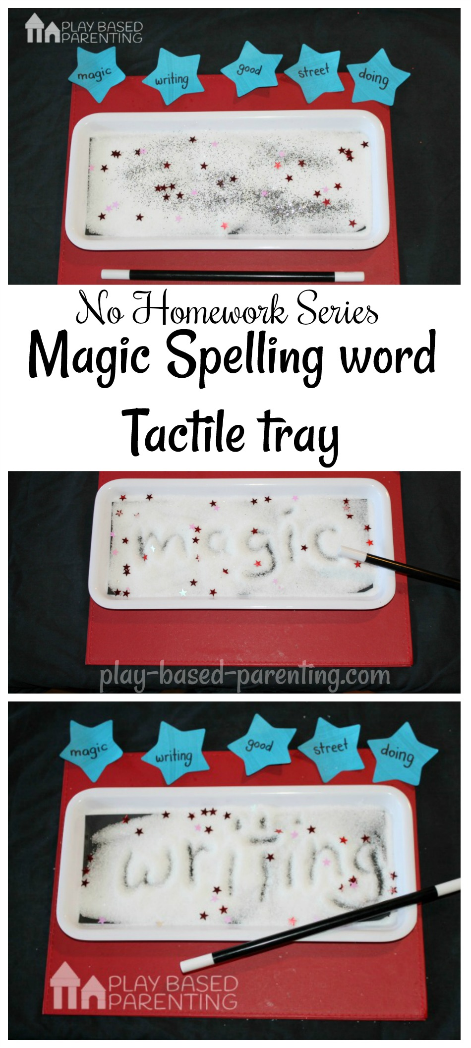spelling words tactile tray no homework