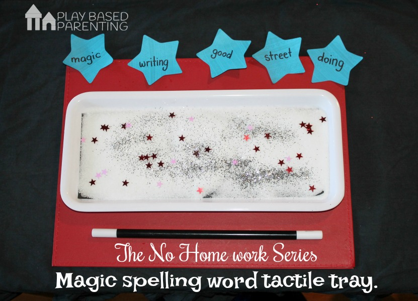 magic spelling word tactile tray