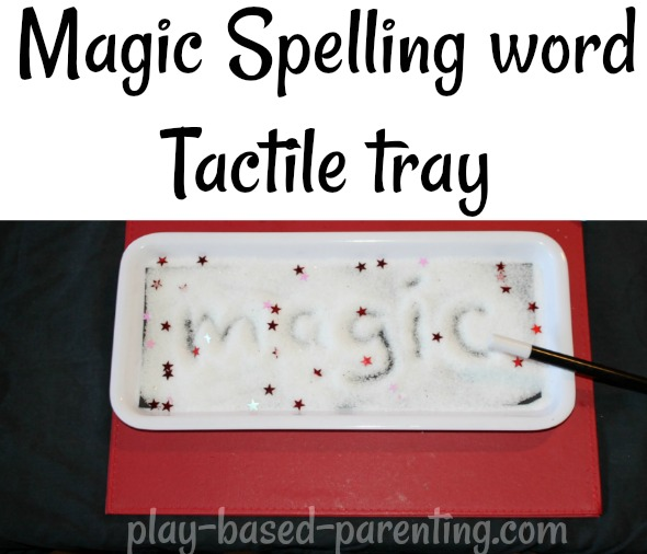 No Homework battles spelling words tactile tray