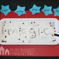 No Homework Series – Magic spelling words tactile tray