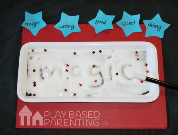 learn spelling list in spelling words tactile tray