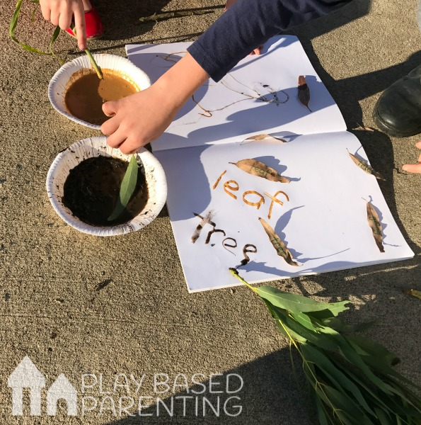 nature writing with mud and dirt paint