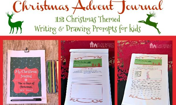 Christmas Advent Journal for kids. 12 days of Writing and Drawing Prompts. A Christmas Printable.