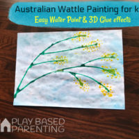 Australian Wattle Painting for kids- Glue and water colour 3d effects