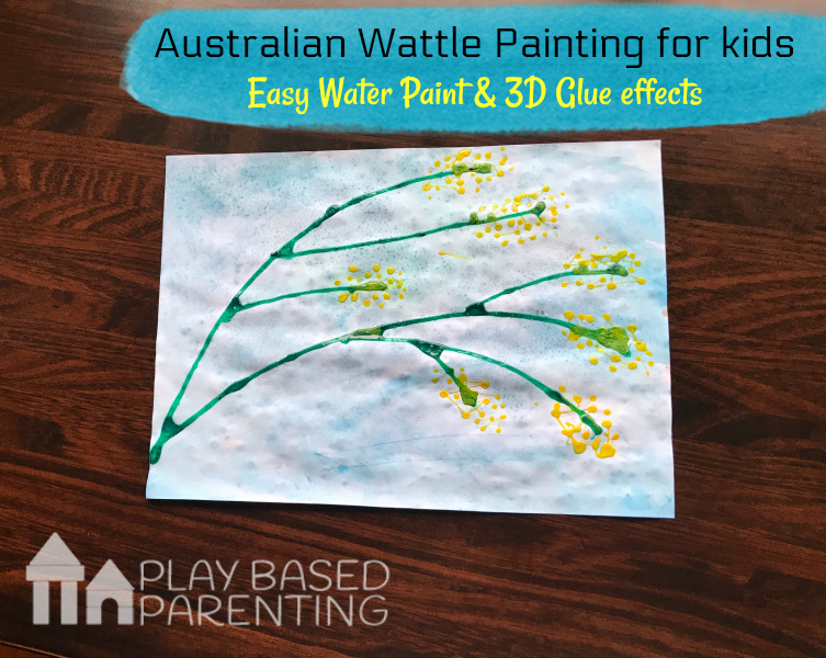 Australian Wattle Painting for kids. Experimenting Art on Australia Day