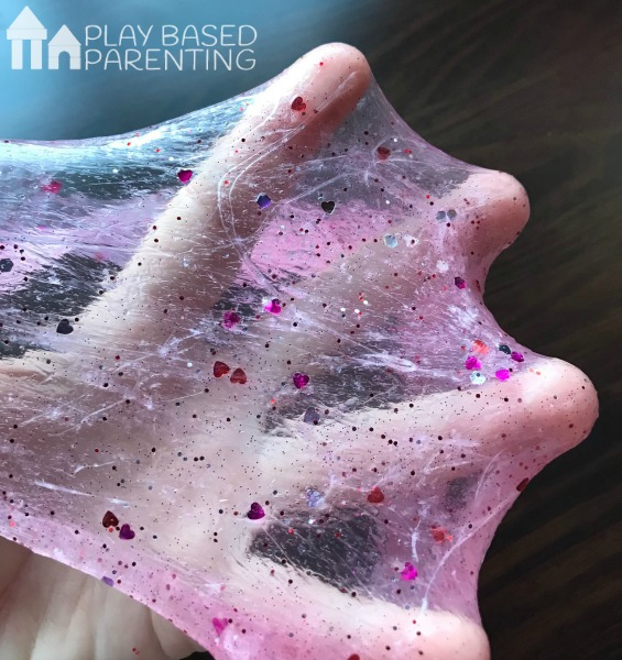 sparkly valentine's day slime for kids activities