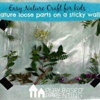 Easy nature craft for kids. natures loose parts on a sticky wall