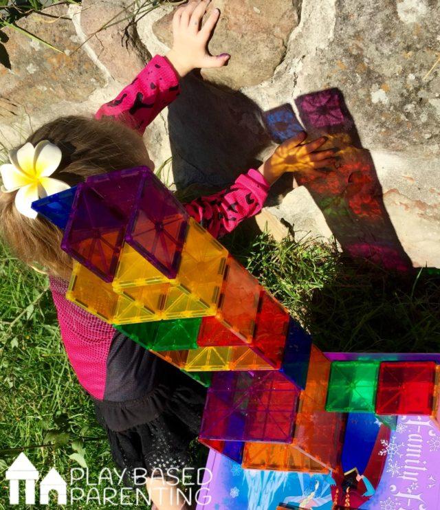 Rainbow window blocks to teach kids colours
