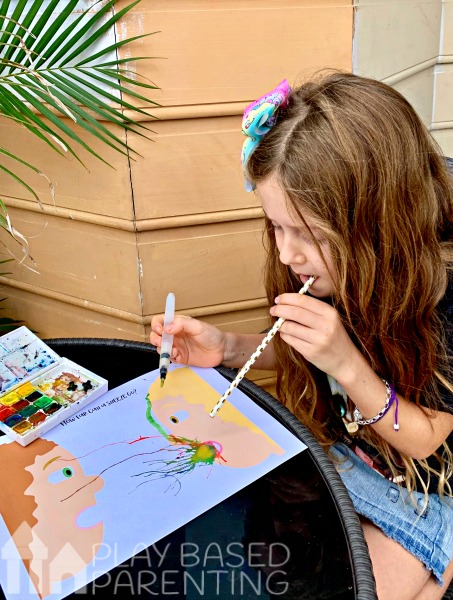 Teach the importance of covering your mouth when you sneeze or cough with this visual art watercolour blowing activity for kids